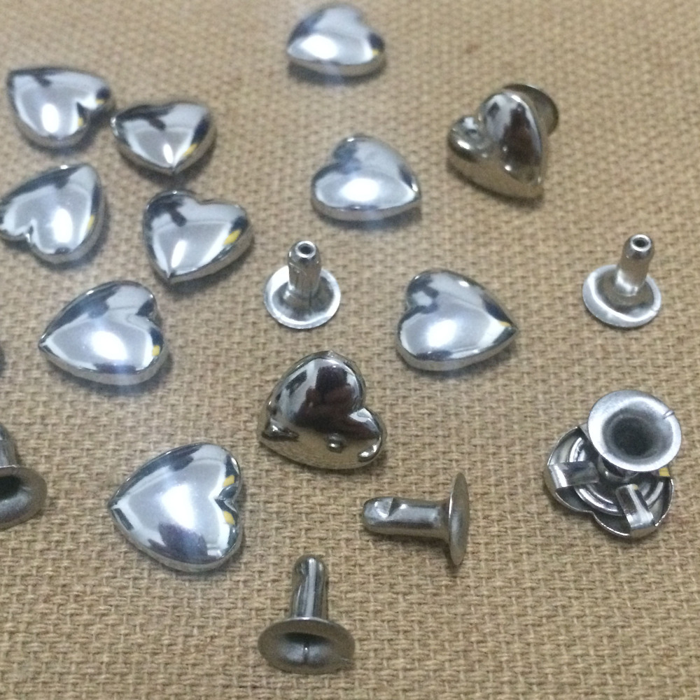 100Pcs Punk Rock Fashion 10mm Metal Silver Studs Rivets DIY Bags Shoes Clothes