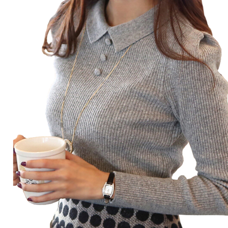 Women Sweater 2016 New Fashion Casual Spring Autumn Women Solid Color Buttons Work Office Pullover Slim Knitted Sweaters ZY656