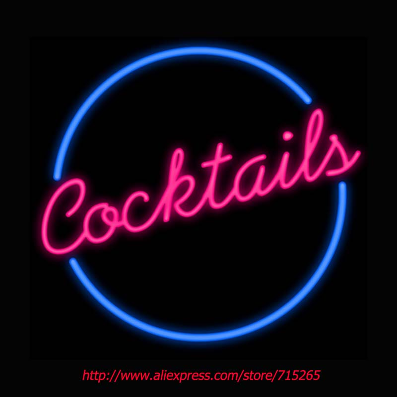 Cocktails Circle Neon Sign Board Neon Bulbs Light Guarage Display Real GlassTube Custom Handcrafted Beer Light Decorate 24x24