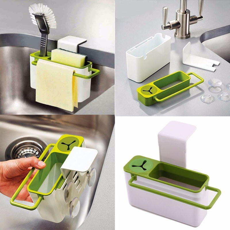 Easy Kitchen Suction Cup Base Brush Sponge Sink Draining Plastic Holder Towel Rack Storage Box Cleaning Tool Organizers