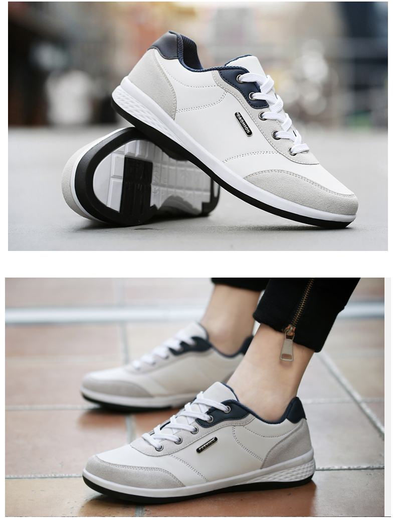 New Lace-up Fashion Microfiber Casual Black White Leather Shoes for Men
