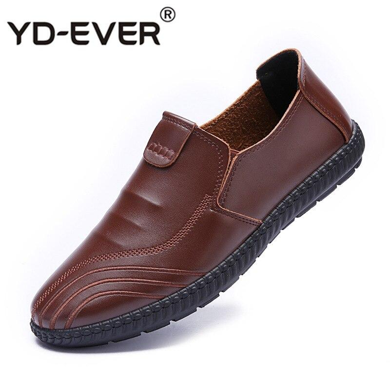 marron Slip Qualité Chaussures Yd Marque Reniflard Sapato Noir Masculino Casual D'été vert Haute on En Cuir Hommes Confortable ever qYpwYTB