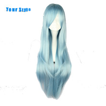 Ваш Стиль Длинные Прямые Парики Из Натуральных Волос Светло-Голубой Цвет для Женщин Синтетический Высокая Температура Волокна