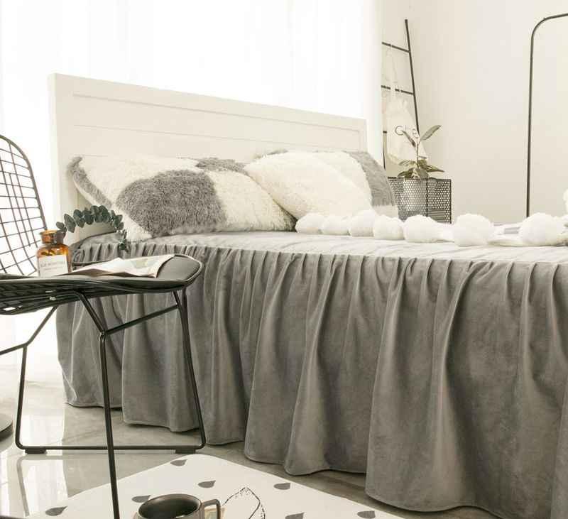 Grau Weiß Rosa Lila Gitter Nerz Samt Bettwäsche Set Weiche Berber Fleece Bettbezug Flanell Bettlaken Bett Rock Kissenbezüge