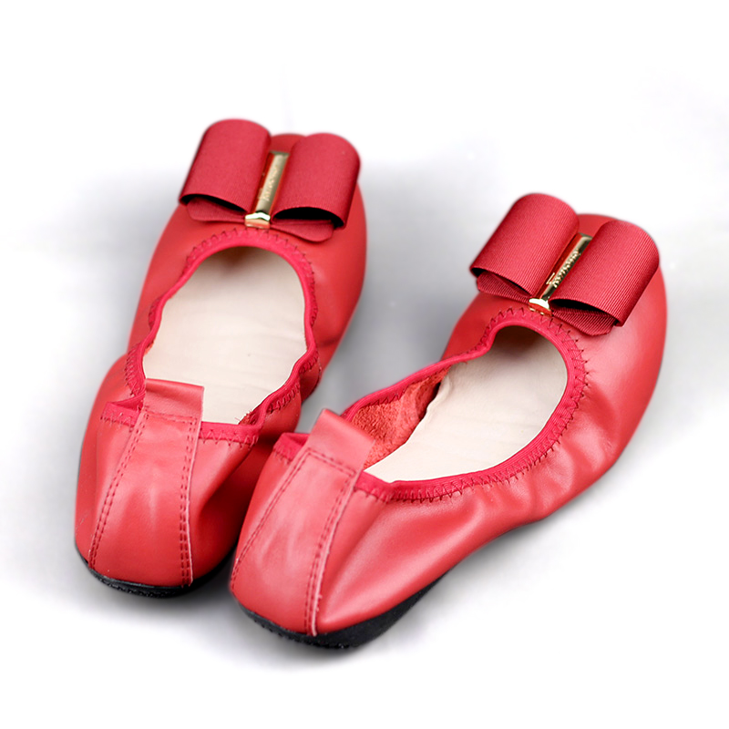 Fashion High Quality Women Round Head Flats 100 Genuine Leather Super Soft Shallow Mouth Comfort Mother