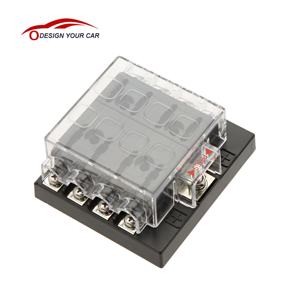 8 Way Circuit Car Style Fuse Box Waterproof Dustproof 32V DC Blade Car Fuse Box Block fuse blade style fuse box diagram wiring diagrams for diy car Waterproof Motorcycle Fuse Block at panicattacktreatment.co
