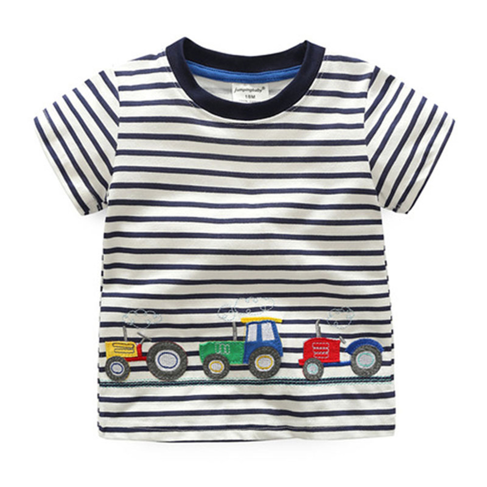 2017 New Brand top quality kids clothing summer boys short sleeve O-neck t shirt Cotton embroidery cartoon striped tee tops
