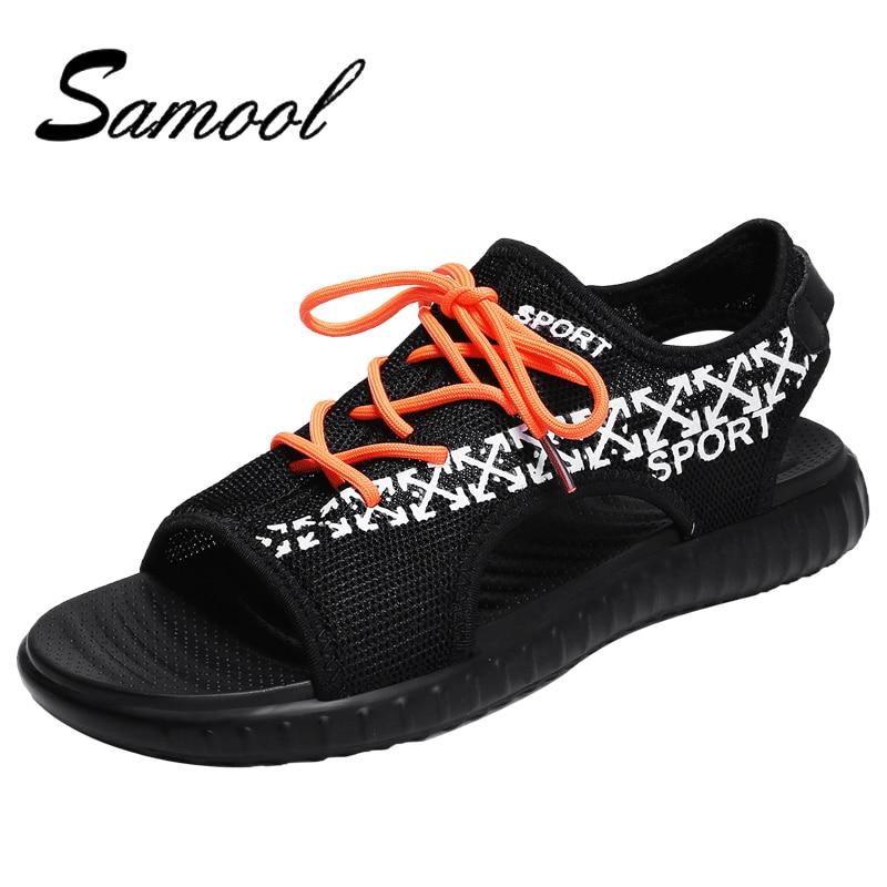 2018 Men Sandals Summer Breathable Air Mesh Men Lightweight Slippers Outdoor Beach Flat Mens Shoes Leisure Fashion Slippers E4