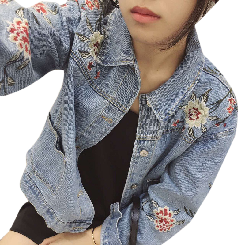 Uwback floral embroidered denim jacket woman new