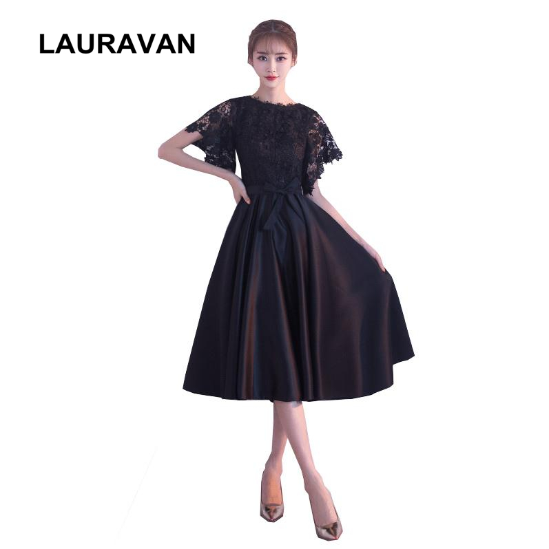 Modest Ladies Beauty Semi Formal Fashion Black Tea Length Pageant Dresses New Arrival Bridesmaid 2019 Dress For Teen Girls