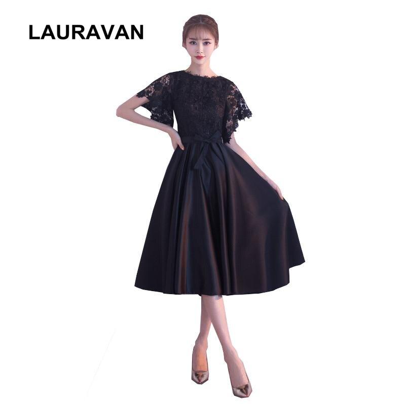 Modest Ladies Beauty Semi Formal Fashion Black Tea Length