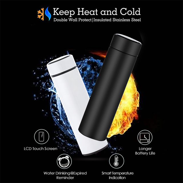 Smart Stainless Steel Thermal Bottle With LCD Touch Temperature Display