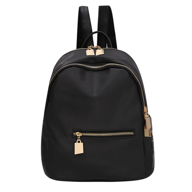 bd3493fbe946 Small Waterproof Nylon Women Backpack Fashion Black Shoulder Back Bag  Preppy Style Backpacks for Teenage Girls