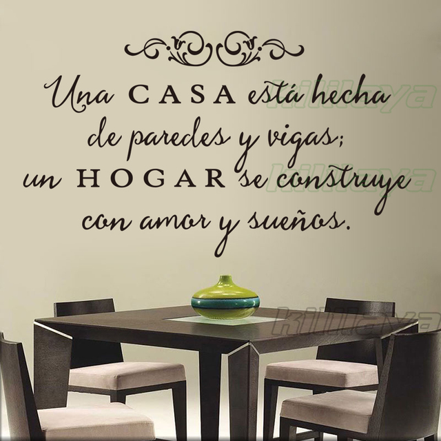 Vinyl Wall Stickers Spanish Quote Una Casa Wall Decals Removable Wall Art  Home Decor Wallpaper For