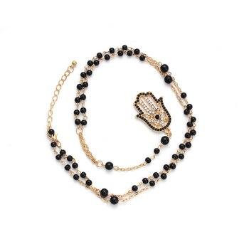 Collier il porte bonheur perles noires en or turc cha ne maillons Hamsa main breloque cha