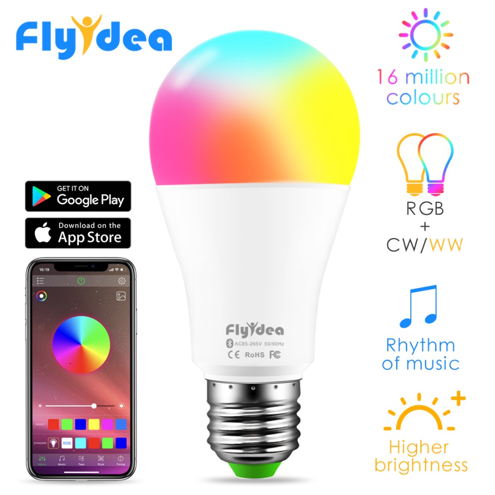 New Wireless Bluetooth 4.0 Smart Daylight Lamp APP Control E27 Color Change Dimmable IOS /Android LED Magic RGBW Home Light Bulb