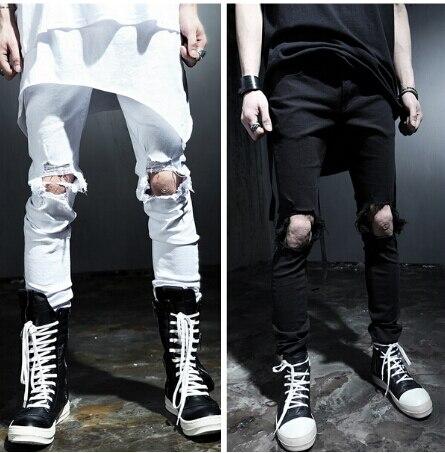 2487c64b3ae02 Hommes de Genou Trou Distrressed Noir Ripped Skinny Moto Jeans 2016 Mode  Mince Designer Denim Noir