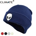 CLIMATE Cool Aliens UFO Fans Winter Warm Knitted Beanie Outstar Saucer Space E.T Home HipHop Soft Hat For Adult Teenagers Boy