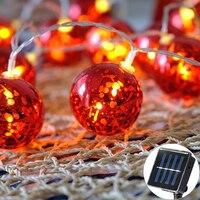 5cm Red Big Ball Solar Lamp Power LED String Fairy Lights Solar Garlands Garden Christmas Decor For Outdoor luminaria