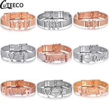все цены на CUTEECO 2019 European Stainless Steel Mesh Bracelet For Women Crystal Heart Charm Bracelet Bangle Men Fashion Jewelry Gift