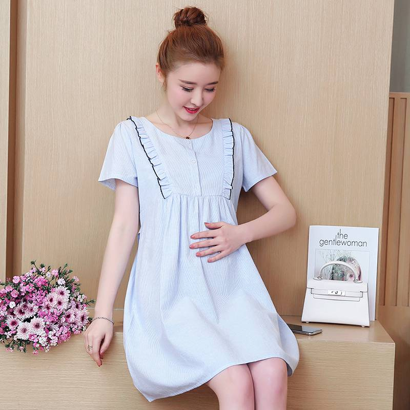 Korean version of the new maternity summer cotton striped long breastfeeding dress out of the nursing skirt