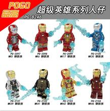 Super Heroes Ironman MK5 MK6 MK17 MK30 MG39 MK41 MK42 MK46 Bricks Figure Compatible With Lego PG8246(China)