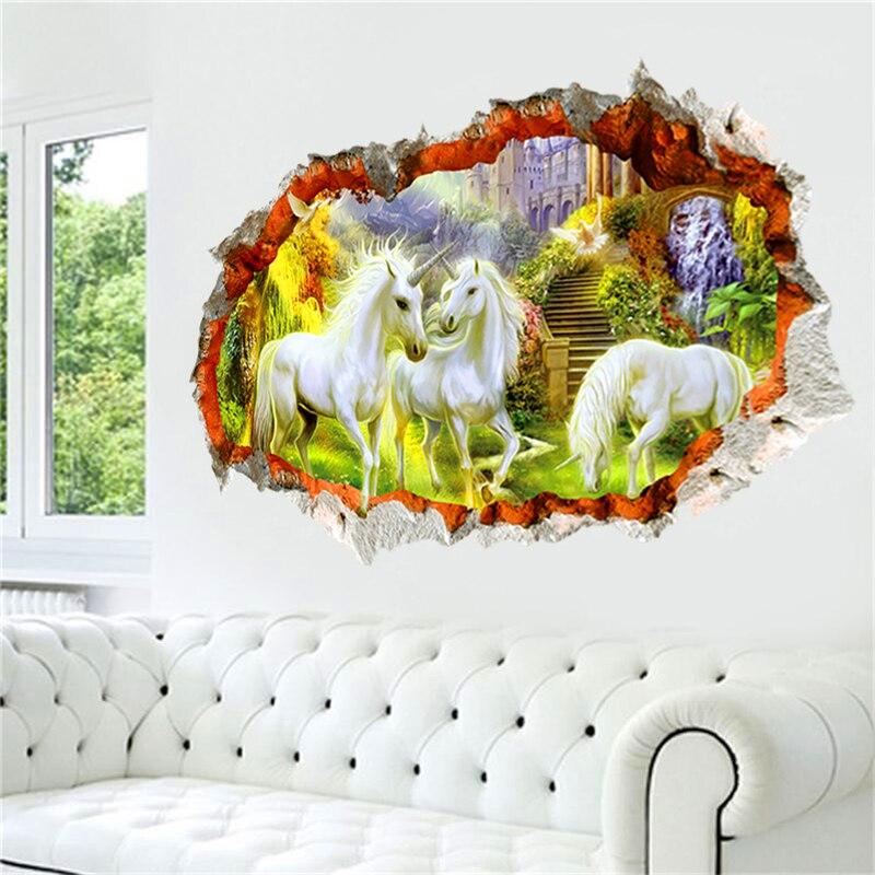 3d әсері unicorn бейнелер қабырғаға - Үйдің декоры - фото 3