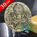 1pcs 80*10mm Mayan Calendar Prophecy Mayan old Cultural Souvenir antique bronze plated metal mayan coin,metal craft
