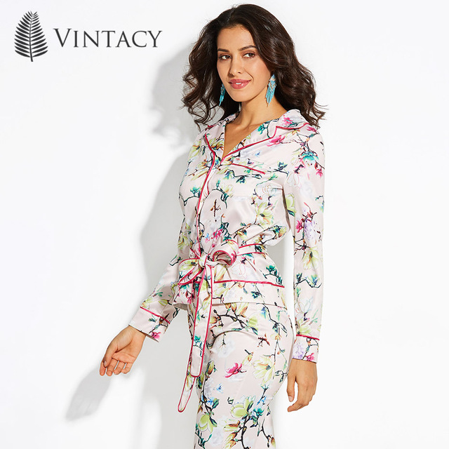 Vintacy Women Chic Pajama Style Blouse Shirt Retro Pink Floral Print
