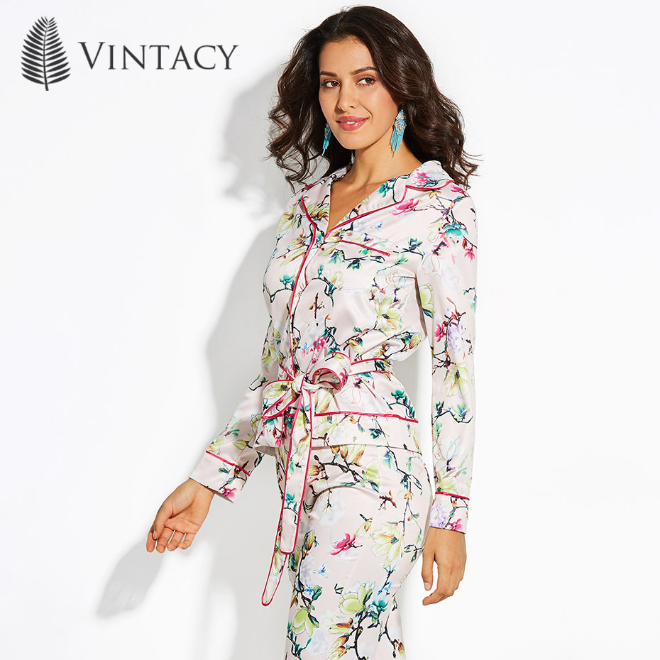Vintacy Women Chic Pajama Style   Blouse     Shirt   Retro Pink Floral Print Fashion Tops 2018 Autumn Long Sleeve Lace Up Bowknot   Blouse