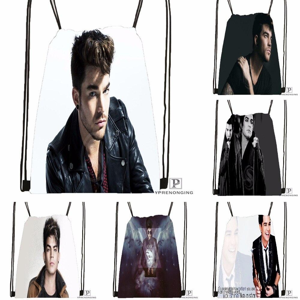 Custom Adam Lambert Drawstring Backpack Bag Cute Daypack Kids Satchel (Black Back) 31x40cm#180531-04-04