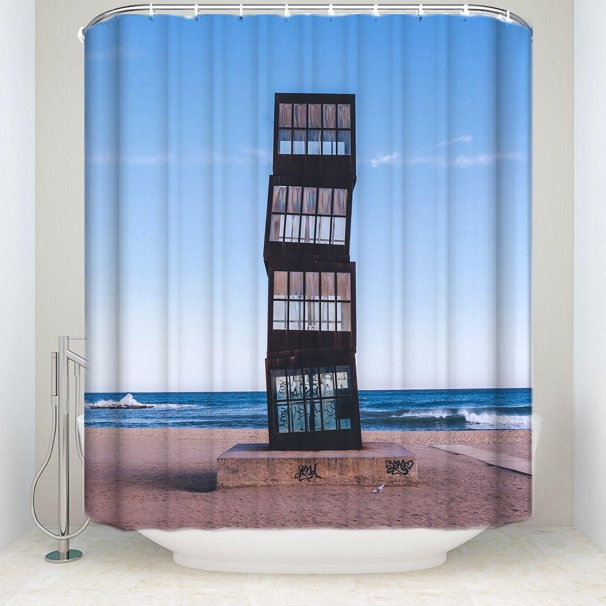 Unique Desgin Landscape Shower Curtain Buildding On The Beach Frabic And  Waterproof Bath Shower Curtain Bright