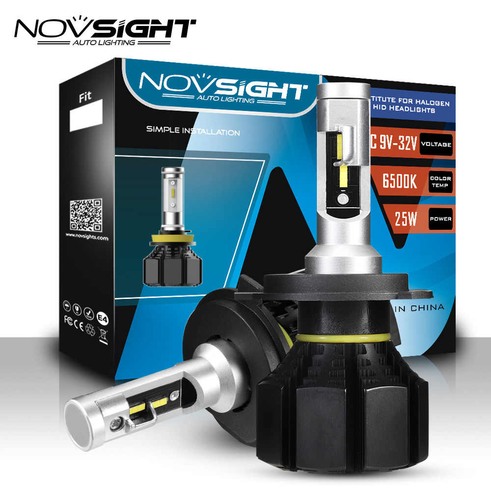 NOVSIGHT H4 H7 H11 H1 H3 9005 9006 Car LED Headlight Bulbs Hi-Lo Beam 50W 12000LM 6500K Auto Headlamp Led Car Lights DC12v 24v