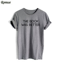ROMWE Letters Print Tee Shirt Fashion T Shirts For Women Cotton Top New Arrival Womens Grey