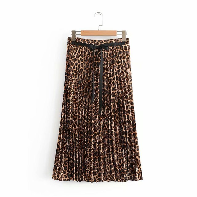 628721a037 BerryGo Snake print women pleated skirt Vintage patchwork elastic