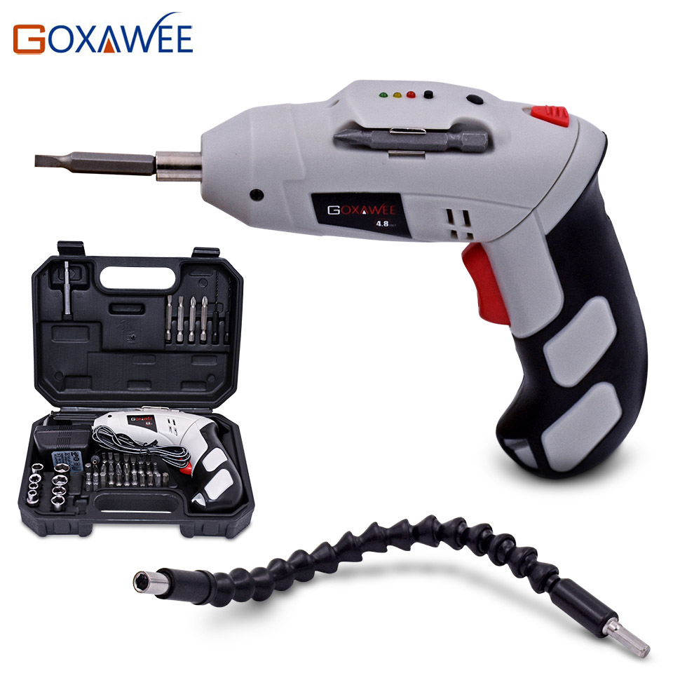 GOXAWEE 4.8V Electric Screwdriver Parafusadeira A Bateria With Chargeable Battery Cordless Drill DIY Power Tools With 43 Bits