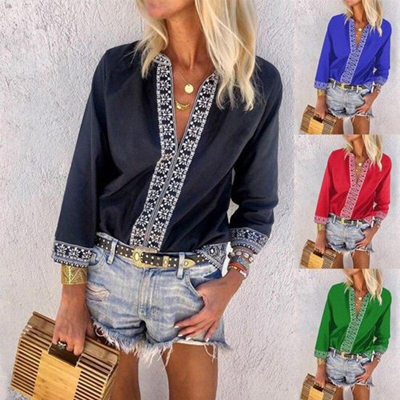 Women's Vintage Print Patchwork Shirts V-Neck Slim Long Sleeve Female Blouses Plus Size 5XL Top 2019 Summer Woman Casual Clothes