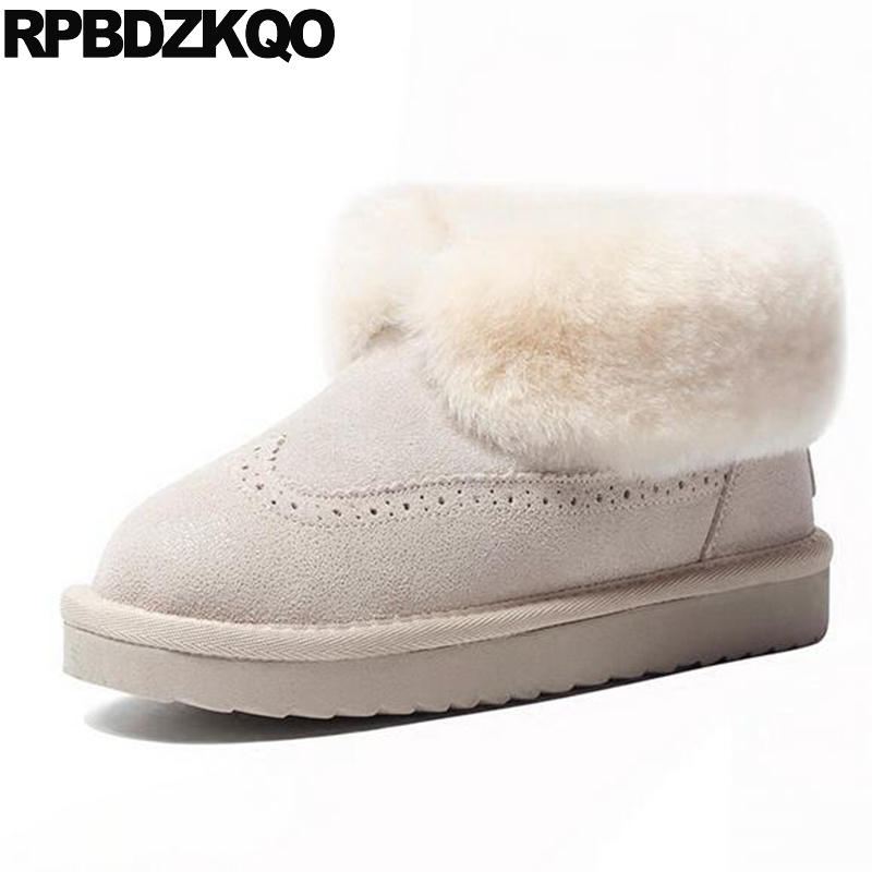 Winter Fur Casual Booties Snow Boots Women Ankle Shoes Faux Beige Brogue Round Toe Flat Slip On 2017 Fashion Ladies Short Female mid calf shoes muffin slip on casual women boots winter 2017 snow furry flat fur black new chinese female ladies fashion