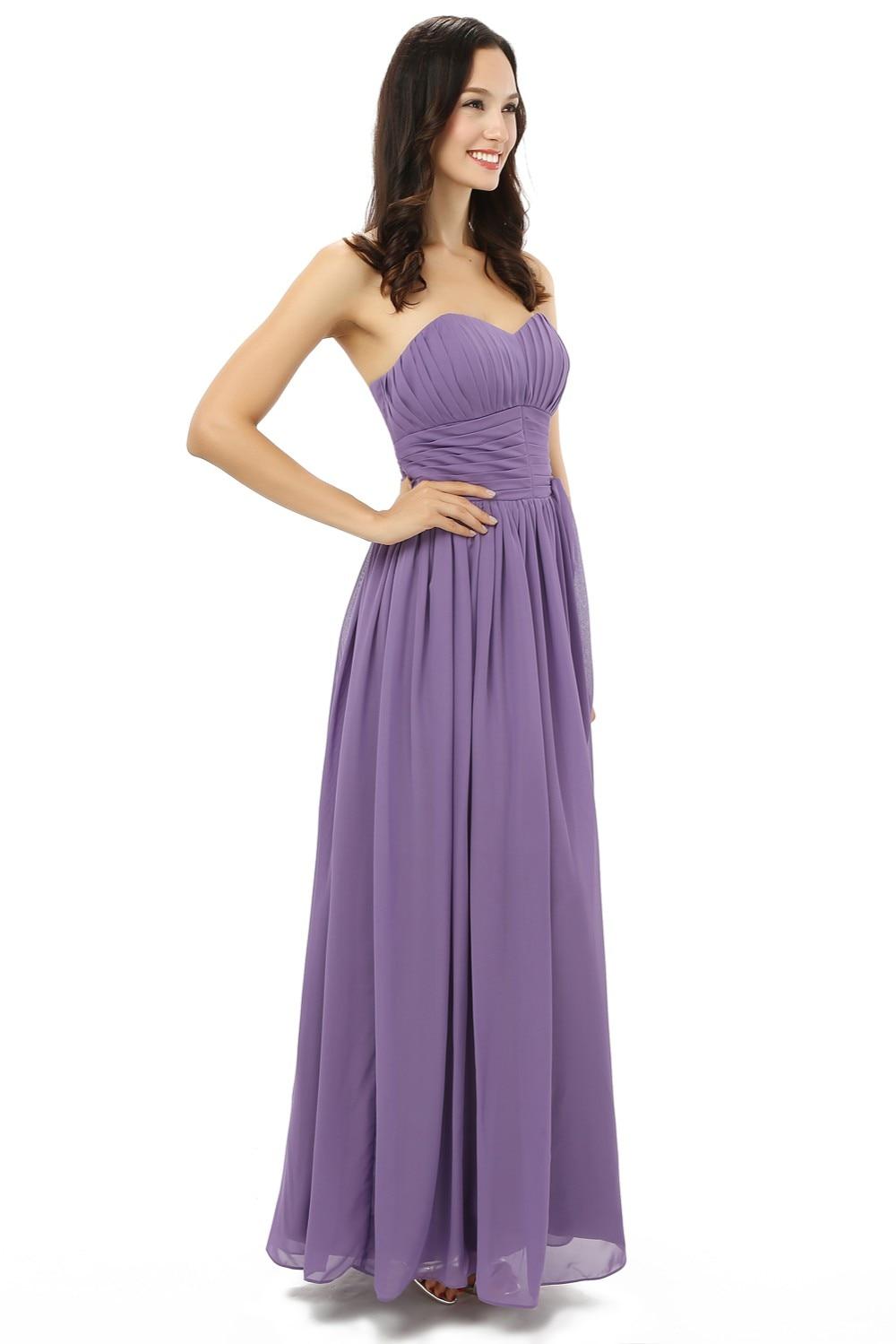 Nouveau 2019 robes de demoiselle d'honneur pas cher moins de 50 a-ligne chérie longueur de plancher en mousseline de soie violet clair robes de fête de mariage - 4