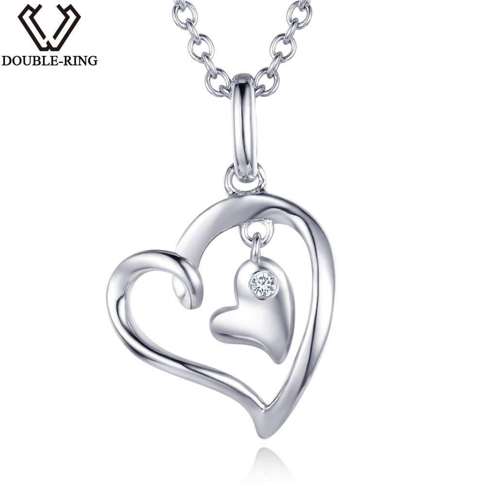 DOUBLE-R 0.02ct Real Diamond Pendants Women 925 Sterling Silver Necklaces Heart Diamond Jewelry Valentine's Gift With Chain double r women necklace pendants 0 03ct diamond 925 sterling silver pendants with long chains diamond jewelry cap03755sa 1