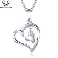 DOUBLE R 0.02ct Real Diamond Pendants Women 925 Sterling Silver Necklaces Heart Diamond Jewelry Valentine's Gift With Chain