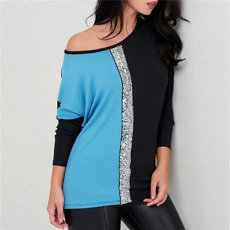 Fashion Sequins Patchwork T-shirt 2019 Spring Women's  Loose Casual O-Neck T Shirt Long Sleeve Tee Tops Female Clothing