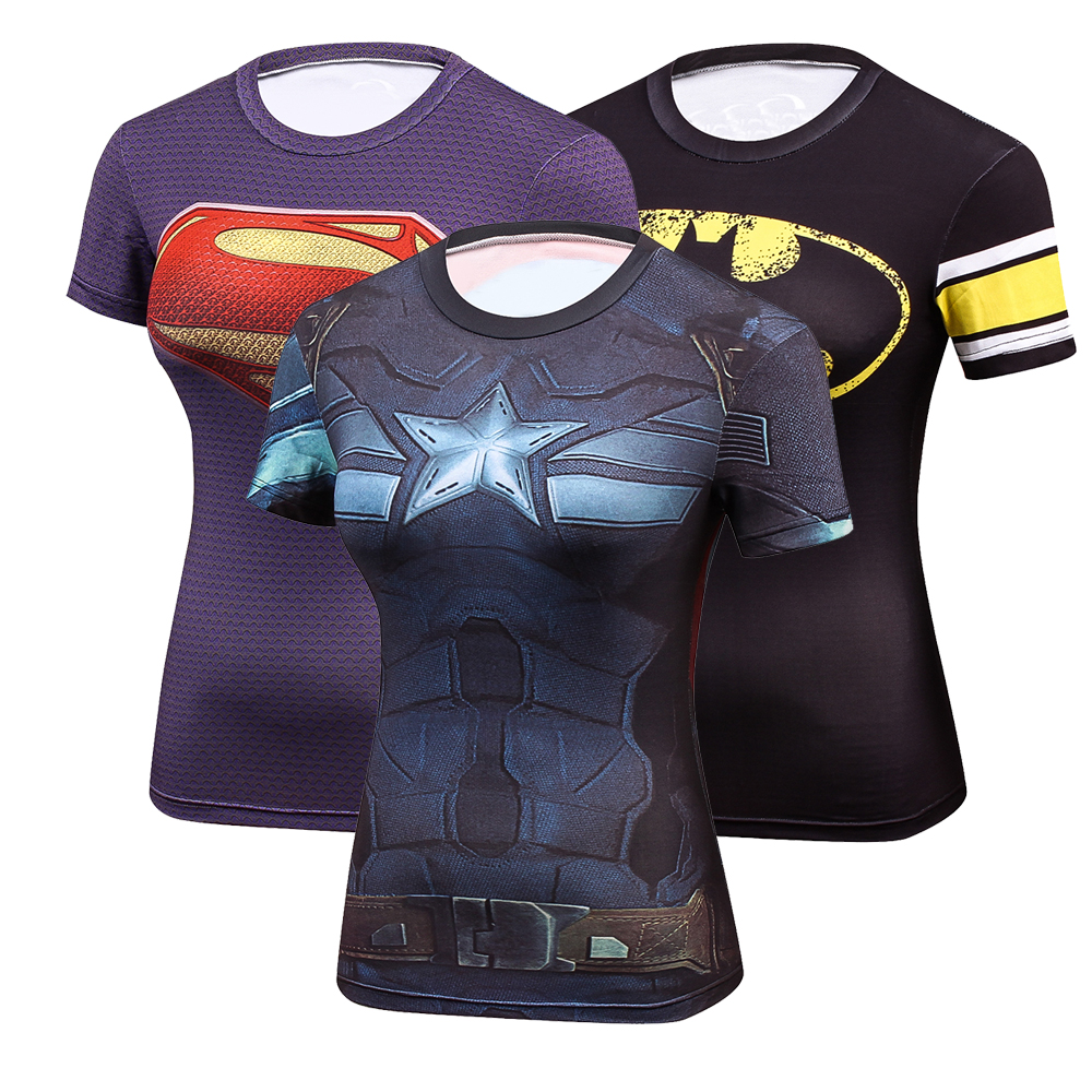 Hot Captain America 3D Stampa t shirt Donne di Compressione fitness shirt Superhero Top costume Manica Corta Fitness Crossfit