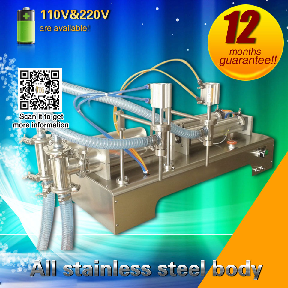 Bottle Filling Machine Two Nozzles Two Piston Bottle Filling Machine For Sauce, Cream100 Ml 500ml 900ml 2500ml 5000ml