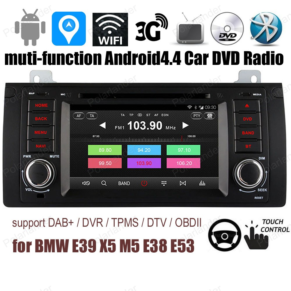 Android4.4 Pour BMW E39 X5 M5 E38 E53 Voiture CD DVD player Support TPMS GPS DAB + OBDII BT 3G WiFi FM radio AM Quad Core