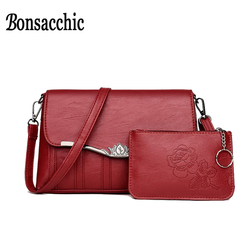 Bonsacchic Small Women Shoulder Bag Set Female Clutch Purse Lady's Leather Crossbody Bags for Women 2018 Bags and Clutches bonsacchic small pu leather bags women shoulder bag female crossbody bags for women 2018 clutch purse bolsa feminina red handbag