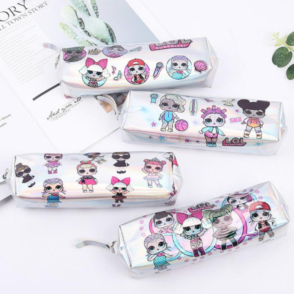 Laser LOL Pencil Cases Cute Unicorn Pencil Bag Cactus Pen Case Flamingo Pencil Box Korean Stationery Office School Supplies