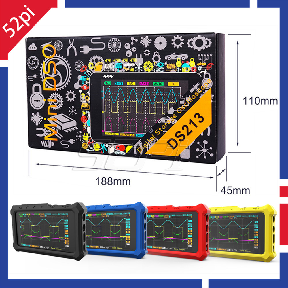 52Pi DS213 Digital Storage Oscilloscope Mini DSO DSO213 Nano 4 Channel 100MSa/s Update from DS212 DSO212 DS203 DSO20352Pi DS213 Digital Storage Oscilloscope Mini DSO DSO213 Nano 4 Channel 100MSa/s Update from DS212 DSO212 DS203 DSO203