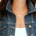 Moda geometria da suspensão de cristal camada 3 ouro sliver cor para escolher cadeia colar de jóias mulheres frete grátis