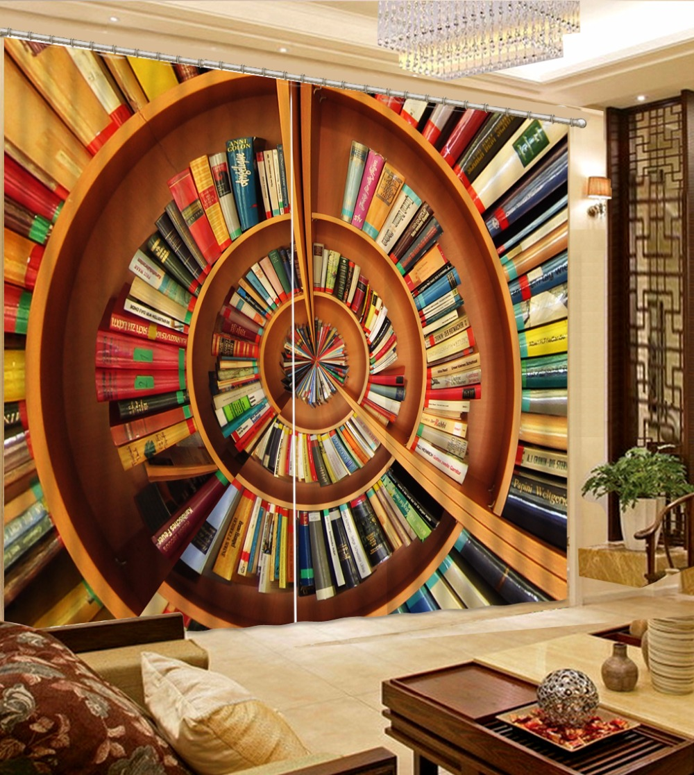 Rideaux 3D bibliothèque rideaux épais pour fenêtre traitements occultants le salon chambre rideaux transparents cuisine maison Textile